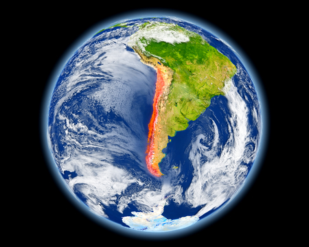 Chile on planet Earth. 3D illustration with detailed planet surface.