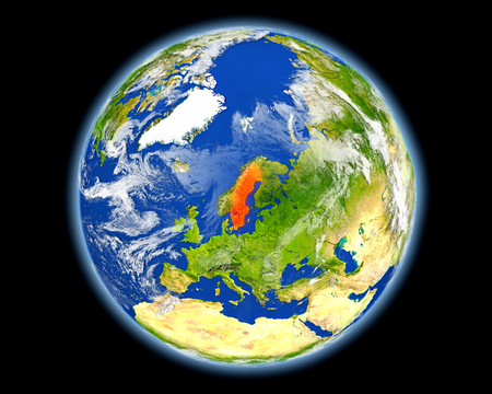 country: Sweden on planet Earth. 3D illustration with detailed planet surface. Elements of this image furnished by NASA. Stock Photo