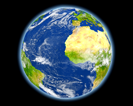 gambia: Gambia on planet Earth. 3D illustration with detailed planet surface. Stock Photo