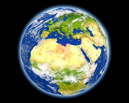 Libië op planeet Aarde. 3D illustratie met gedetailleerde planeet oppervlak. Stockfoto