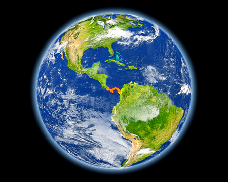 Panama on planet Earth. 3D illustration with detailed planet surface. Elements of this image furnished by NASA. Stock Photo