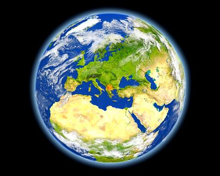 Macedonië op de planeet aarde. 3D illustratie met gedetailleerd planeetoppervlak. Stockfoto - 81260379
