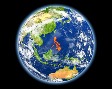 Philippines on planet Earth. 3D illustration with detailed planet surface. Elements of this image furnished by . Фото со стока