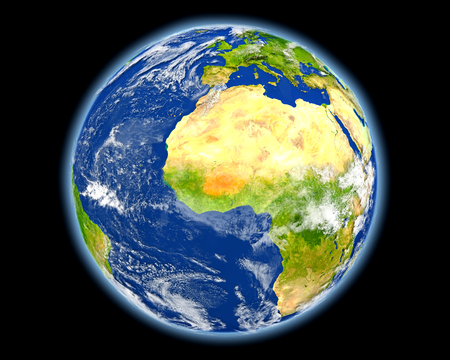 Burkina Faso on planet Earth. 3D illustration with detailed planet surface. Stock Photo