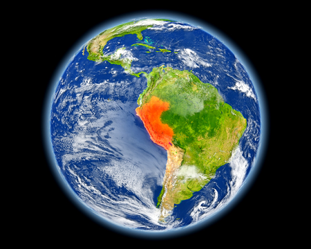 Peru on planet Earth. 3D illustration with detailed planet surface. Stock Photo