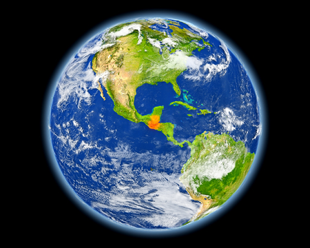Guatemala on planet Earth. 3D illustration with detailed planet surface.