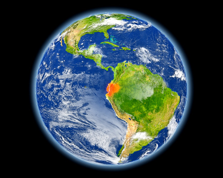 Ecuador on planet Earth. 3D illustration with detailed planet surface. Elements of this image furnished by NASA. Stock Photo