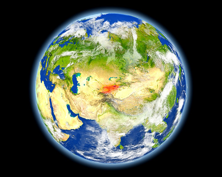 Kyrgyzstan on planet Earth. 3D illustration with detailed planet surface. Stock Photo