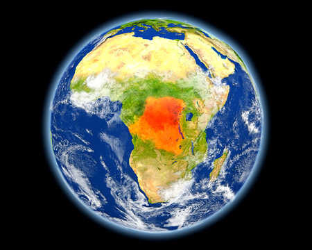 Democratic Republic of Congo on planet Earth. 3D illustration with detailed planet surface. Stock Photo
