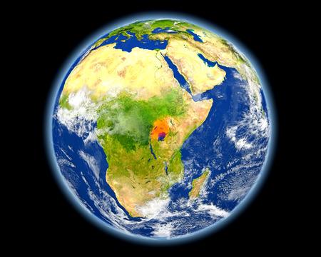 Oeganda op planeet Aarde. 3D illustratie met gedetailleerde planeet oppervlak.