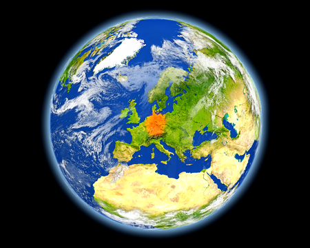 country: Germany on planet Earth. 3D illustration with detailed planet surface. Elements of this image furnished by NASA.