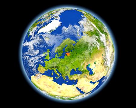 地球上のエストニア。詳細な惑星の表面に 3 D のイラスト。 写真素材 - 81260883