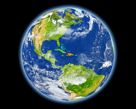 Haiti on planet Earth. 3D illustration with detailed planet surface. Elements of this image furnished by NASA.