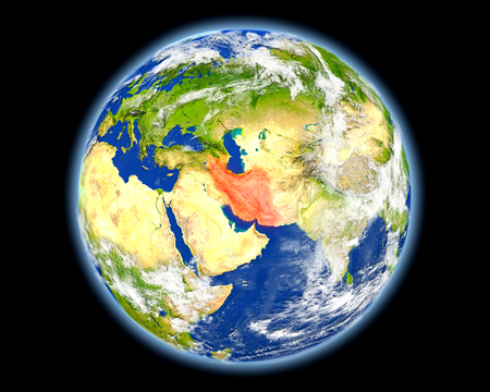 Iran on planet Earth. 3D illustration with detailed planet surface