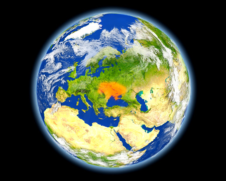 Ukraine on planet Earth. 3D illustration with detailed planet surface. Stock Photo