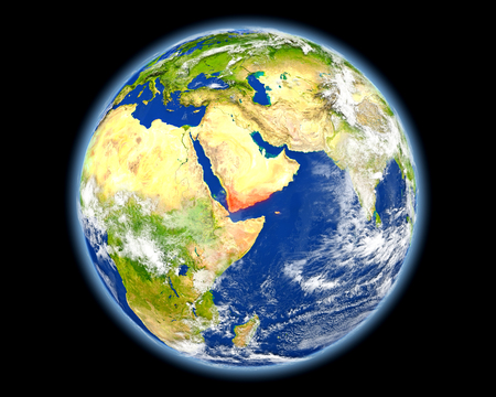 yemen: Yemen on planet Earth. 3D illustration with detailed planet surface. Elements of this image furnished by NASA. Stock Photo