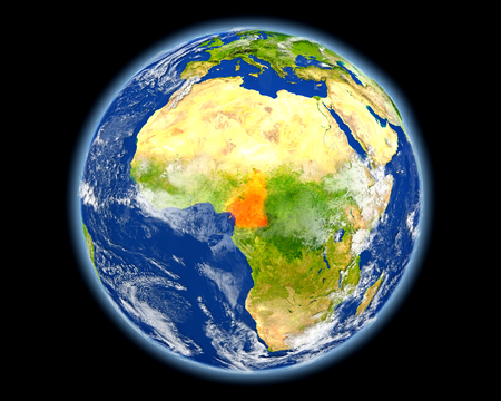 Cameroon on planet Earth. 3D illustration with detailed planet surface. Imagens