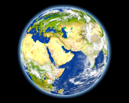 Qatar on planet Earth. 3D illustration with detailed planet surface. Stock Illustration - 81260396