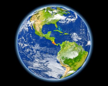 Costa Rica on planet Earth. 3D illustration with detailed planet surface. Elements of this image furnished by NASA.