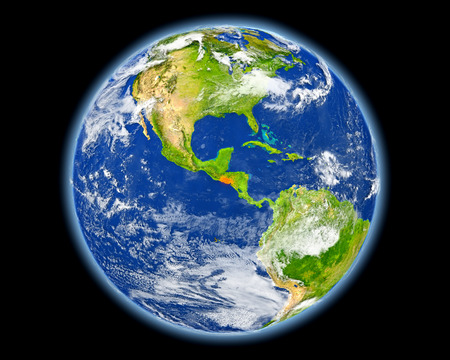El Salvador on planet Earth. 3D illustration with detailed planet surface. Elements of this image furnished by NASA.