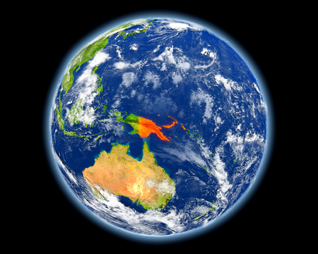 Papua New Guinea on planet Earth. 3D illustration with detailed planet surface. Elements of this image furnished by NASA.