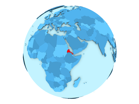 Eritrea highlighted in red on blue political globe. 3D illustration isolated on white background.