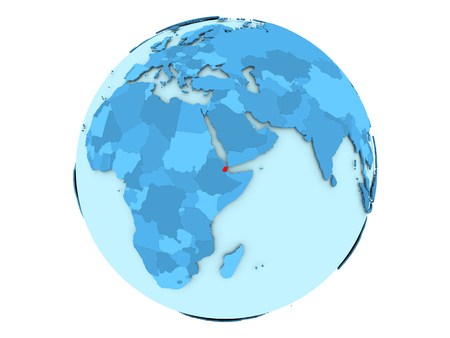 Djibouti highlighted in red on blue political globe. 3D illustration isolated on white background.