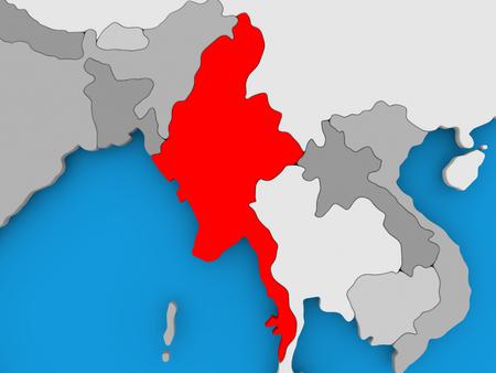 Myanmar in red on political map. 3D illustration.