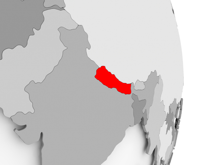 Nepal highlighted in red on grey political globe. 3D illustration. Фото со стока