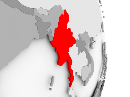 Myanmar highlighted in red on grey political globe. 3D illustration.