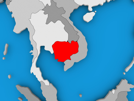 Cambodia in red on political map. 3D illustration. Stock Photo
