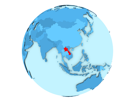 Laos highlighted in red on blue political globe. 3D illustration isolated on white background.