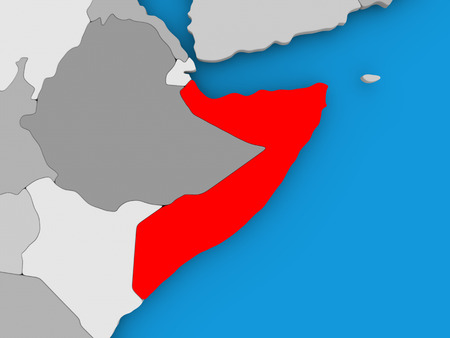 Somalia in red on political map. 3D illustration.