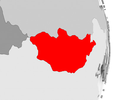 Mongolia highlighted in red on grey political globe. 3D illustration.