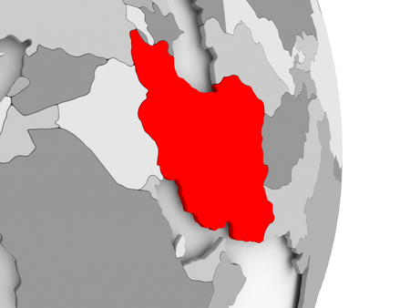 Iran highlighted in red on grey political globe. 3D illustration. Stock Photo