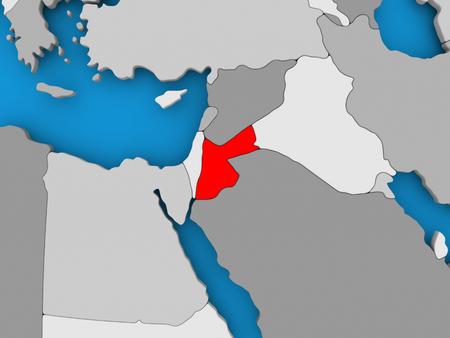 Jordan in red on political map. 3D illustration.