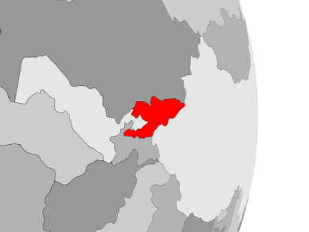 Kyrgyzstan highlighted in red on grey political globe. 3D illustration.