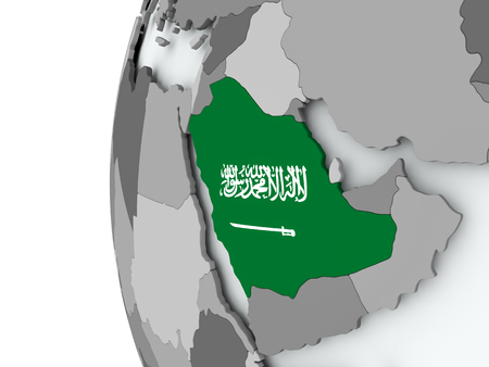 Illustration of Saudi Arabia on political globe with embedded flag. 3D illustration.