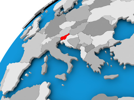 La Slovénie sur un globe politique simple avec des frontières de pays visibles. Illustration 3D Banque d'images - 84951236