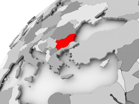 Map of Bulgaria in red on grey political globe. 3D illustration.