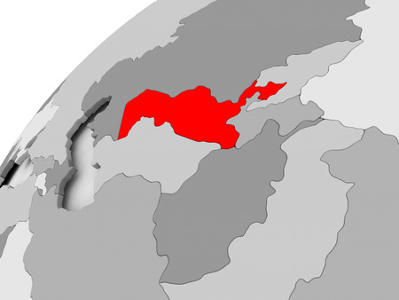 Map of Uzbekistan in red on grey political globe. 3D illustration.