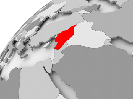 Map of Syria in red on grey political globe. 3D illustration.