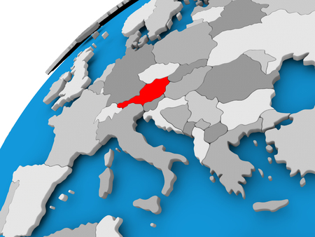 Austria on simple political globe with visible country borders. 3D illustration.
