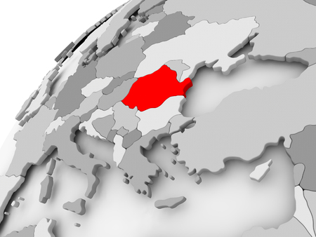 Map of Romania in red on grey political globe. 3D illustration.
