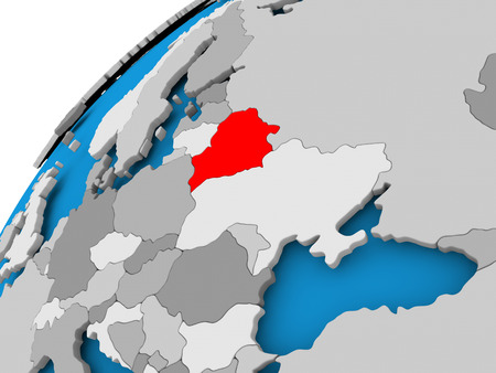visible: Belarus on simple political globe with visible country borders. 3D illustration.