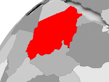 Map of Sudan in red on grey political globe. 3D illustration.
