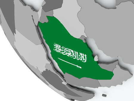 Saudi Arabia on political globe with embedded flags. 3D illustration.