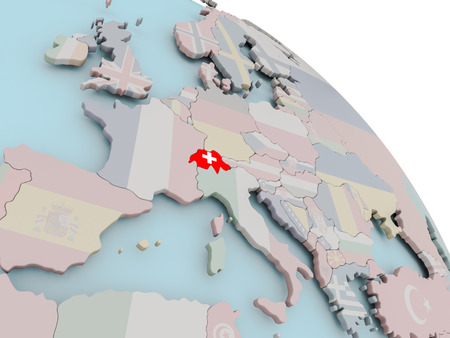 Illustration de la suisse sur le globe politique avec des panneaux intégrés 3d . illustration vectorielle Banque d'images - 85604558