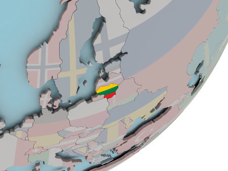 3D render of Lithuania on political globe with embedded flag. 3D illustration.