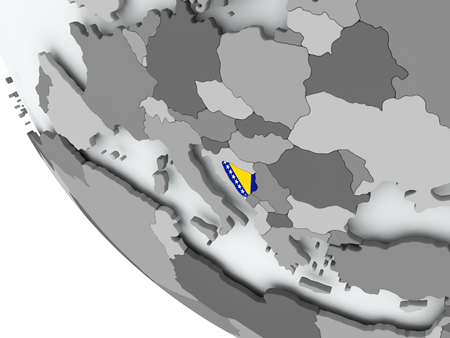 Bosnia on political globe with embedded flags. 3D illustration.
